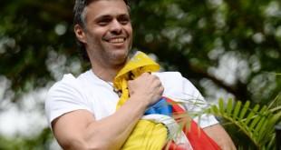 Leopoldo López saluda a sus seguidores luego de ser trasladado desde una prisión militar cerca de Caracas a su casa, donde permanecerá bajo arresto domiciliario por motivos de salud, según informó el Tribunal Supremo de Justicia. / Foto: Federico Parra/Agence France-Presse -- Getty Images